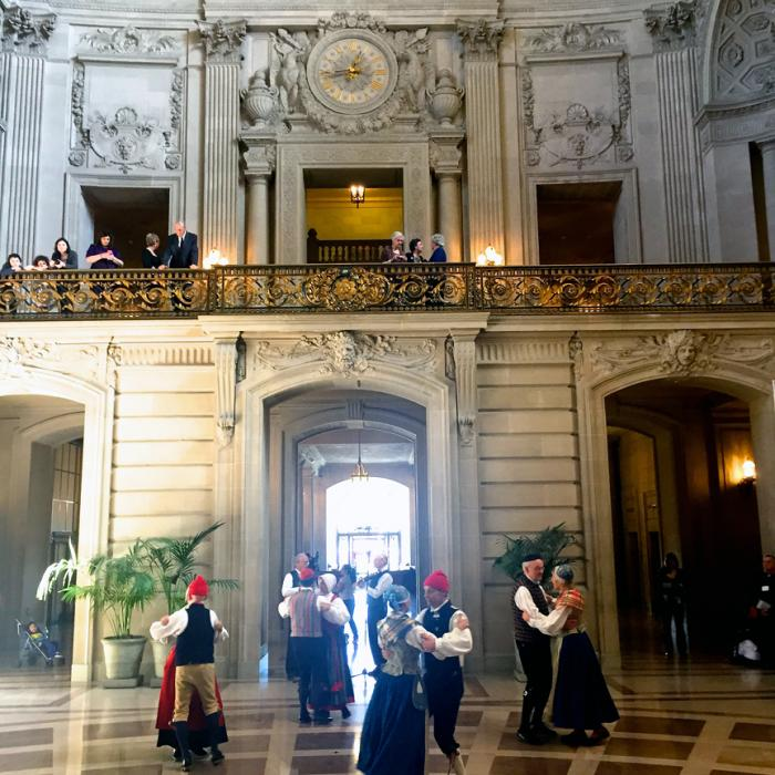 Swedes dance in City Hall Rotunda. Photo: Ted Olsson