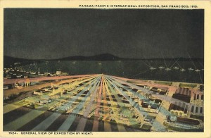 General view of exposition by night. Official post card by the Cardinell Vincent Company. Courtesy Ron Plain.