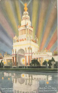 Tower of Jewels Illuminated at the Panama-Pacific International Exposition. Postcard by Mitchell. Courtesy Ron Plain.