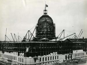 San Francisco City Hall construction, 1914 August, courtesy, California Historical Society, CHS2015.2005