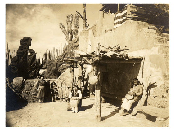 Pueblo Indian Village in Grand Canyon of Arizona exhibit in The Zone at the Panama-Pacific International Exposition. Courtesy San Francisco Public Library.
