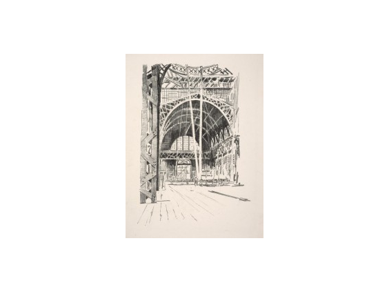 Cadwallader Washburn, Exposition Palace Interior, from the portfolio Building of the Panama-Pacific International Exposition, ca. 1914. Lithograph. FAMSF, Achenbach Foundation for Graphic Arts, 1963.30.26362